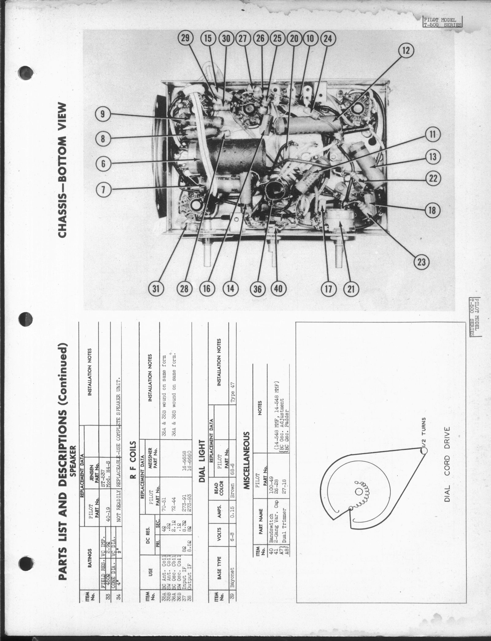 Restauration Of A Pilot T500 Tuned Radio Frequency Trf Receiver Circuit Diagram Figure 51 Click On One The Pictures To Download High Resolution Scan Here For Bottom View Sketch Tube Connections
